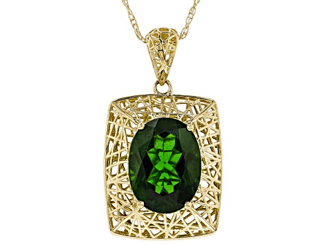 Green chrome diopside 10K gold pendant with chain  2.21ct