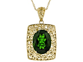 Green Russian Chrome Diopside 10K Yellow Gold Pendant with Chain  2.21ct