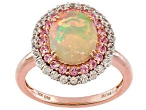 Multi Color Ethiopian Opal 10k Rose Gold Ring 2.08ctw.
