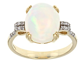 Multi color Ethiopian opal 10k yellow gold ring 2.72ctw.