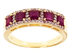 Red Ruby 10k Yellow Gold Ring 1.19ctw.