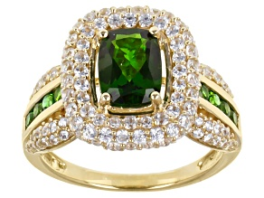 Green Russian Chrome Diopside 10k Yellow Gold Ring 2.84ctw.