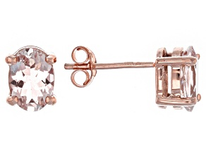 Pink Morganite 10k Rose Gold Stud Earrings 1.21ctw.