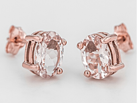 Pink Morganite 10k Rose Gold Stud Earrings 1 21ctw