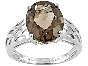 Brown Brazilian Smoky Quartz Rhodiium Over Sterling Silver Ring 3.40ct.