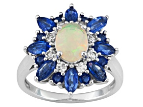 Multi Color Ethiopian Opal, Kyanite And White Zircon Sterling Silver Ring 2.64ctw.