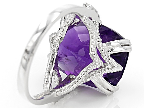 Purple Amethyst Sterling Silver Ring 8.50ctw.