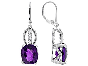 Purple Amethyst Sterling Silver Earrings 8.50ctw.