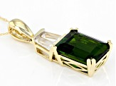 Green Chrome Diopside 10k Yellow Gold Pendant With Chain 3.40ctw