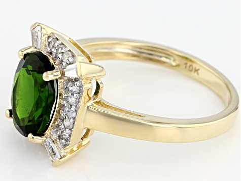 Green Russian Chrome Diopside 10k Yellow Gold Ring 1.98ctw