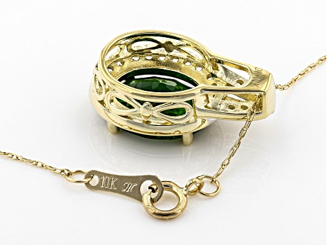 Green Russian Chrome Diopside 10k Gold Pendant With Chain 3.50ctw
