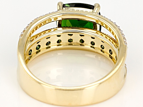Green Russian Chrome Diopside 10k Yellow Gold Ring 3.44ctw
