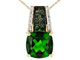 Green Square Cushion Chrome Diopside 10k Gold Pendant/Slide With Chain 3.18ctw