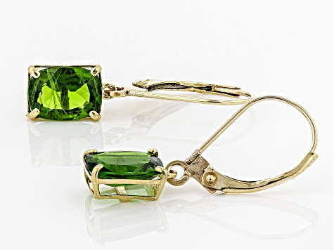 Green Chrome Diopside 10k Yellow Gold Solitaire Dangle Earrings 2.70ctw