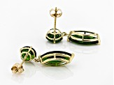 Green Russian Chrome Diopside 10k Yellow Gold Earrings 4.80ctw