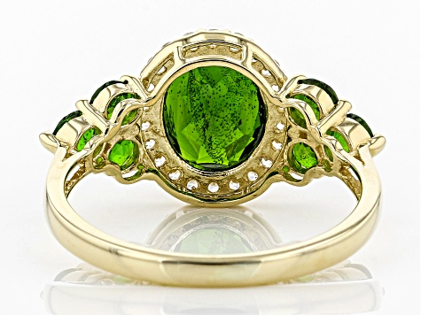 Green Russian Chrome Diopside 10k Yellow Gold Ring 2.84ctw