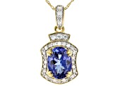 Blue Tanzanite 10k Yellow Gold Pendant With Chain  1.25ctw