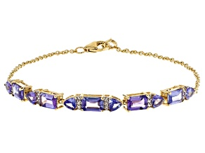 Blue Tanzanite 10k Yellow Gold Bracelet 3.41ctw