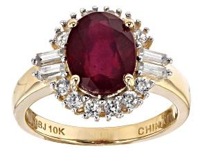 Mahaleo Ruby 10k Yellow Gold Ring 4.13ctw