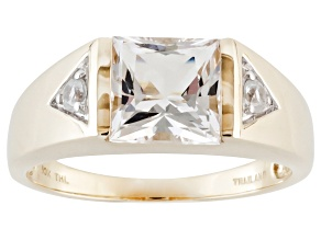White Danburite And White Zircon 10k Yellow Gold Gents Ring 2.55ctw