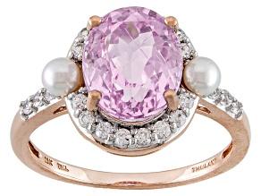 Pink Kunzite 10k Rose Gold Ring 3.85ctw