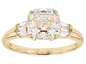White Fabulite Strontium Titanate And White Zircon 10k Yellow Gold Ring 3.47ctw