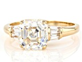 White Fabulite Strontium Titanate And White Zircon 10k Yellow Gold Ring 3.47ctw
