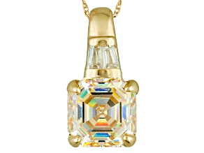 White Fabulite Strontium Titanate And White Zircon 10k Yellow Gold Pendant With Chain 3.30ctw