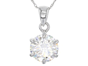 White Fabulite Strontium Titanate 10k White Gold Pendant With Chain 2.47ct