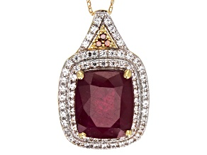 Mahaleo Ruby 10k Yellow Gold Pendant With Chain 6.29ctw