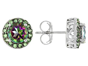 Mystic Fire® Green Topaz Rhodium Over Sterling Silver Stud Earrings 3.24ctw