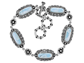 Blue Larimar Sterling Silver Toggle Bracelet
