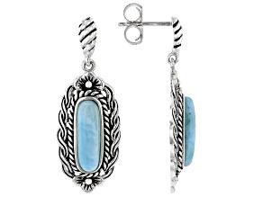 Fancy Cut Cabochon Larimar Sterling Silver Earrings