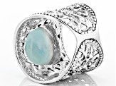 Womens Flower Detail Cigar Band Ring Blue Larimar Sterling Silver