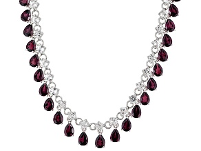 Red Garnet Rhodium Over Sterling Silver Necklace 36.00ctw