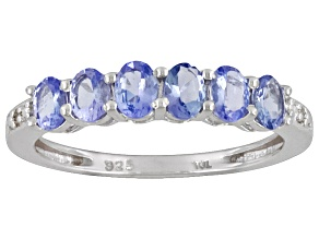 Tanzanite .70ctw oval with diamond accent .01ctw round sterling silver ring