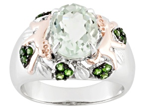 Green Prasiolite And Chrome Diopside Sterling Silver Two-Tone Ring 2.52ctw