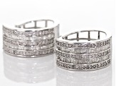 Rhodium Over Sterling Silver Diamond Earrings .95ctw