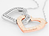 Rhodium And 14k Rose Gold Over Sterling Silver Diamond Necklace .16ctw