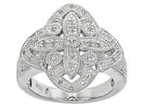 Diamond Rhodium Over Sterling Silver Ring .16ctw