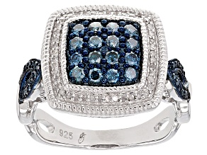 Rhodium Over Sterling Silver Blue And White Diamond Ring .63ctw