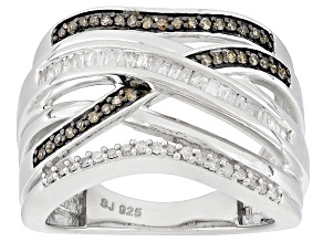 Champagne And White Diamond Rhodium Over Sterling Silver Ring .33ctw