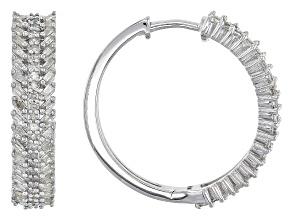Diamond Rhodium Over Sterling Silver Hoop Earrings .75ctw