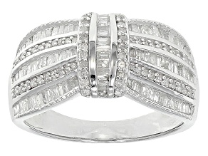 Diamond Rhodium Over Sterling Silver Ring .75ctw