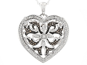 Champagne And White Diamond Rhodium Over Sterling Silver Heart Pendant .35ctw