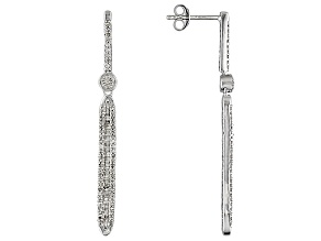 Diamond Rhodium Over Sterling Silver Earrings .75ctw