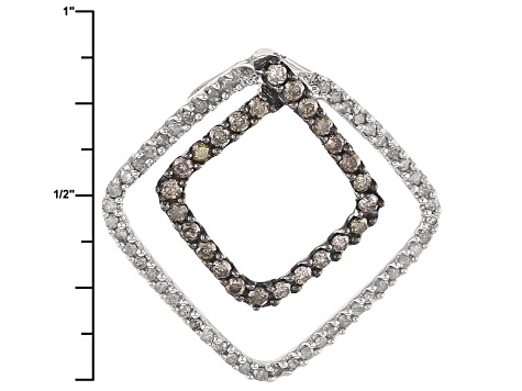 Champagne And White Diamond Rhodium Over Sterling Silver Pendant .50ctw