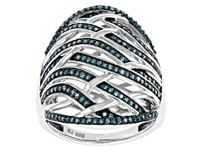 Blue Diamond Rhodium Over Sterling Silver Ring .50ctw