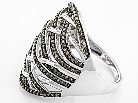 Champagne Diamond Rhodium Over Sterling Silver Ring .60ctw
