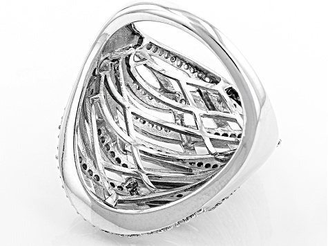 Diamond Rhodium Over Sterling Silver Ring .50ctw